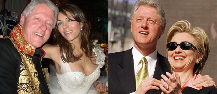 Bill Clinton a bal oldalon Liz Hurleyvel, a jobb oldalon Hillary Clintonnal