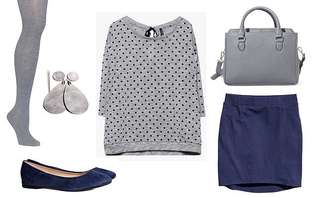 Pulóver: Stradivarius, szoknya, cipő: H&M, fülbevaló: Sonnette, táska: Zara