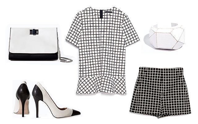 Felső, sort, táska, ékszer, cipő: Zara