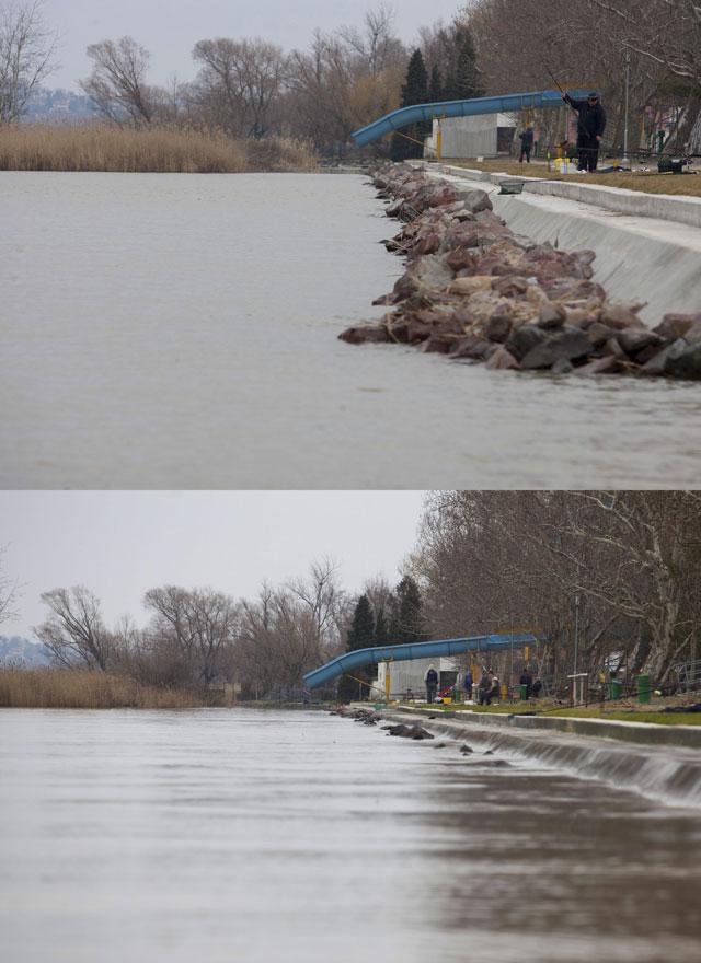 Kombókép a balatonfenyvesi strandról 2013. március 6-án és 2014. február 25-én., Fotó: Varga György / MTI