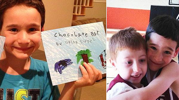 Dylan a könyvével és barátjával
