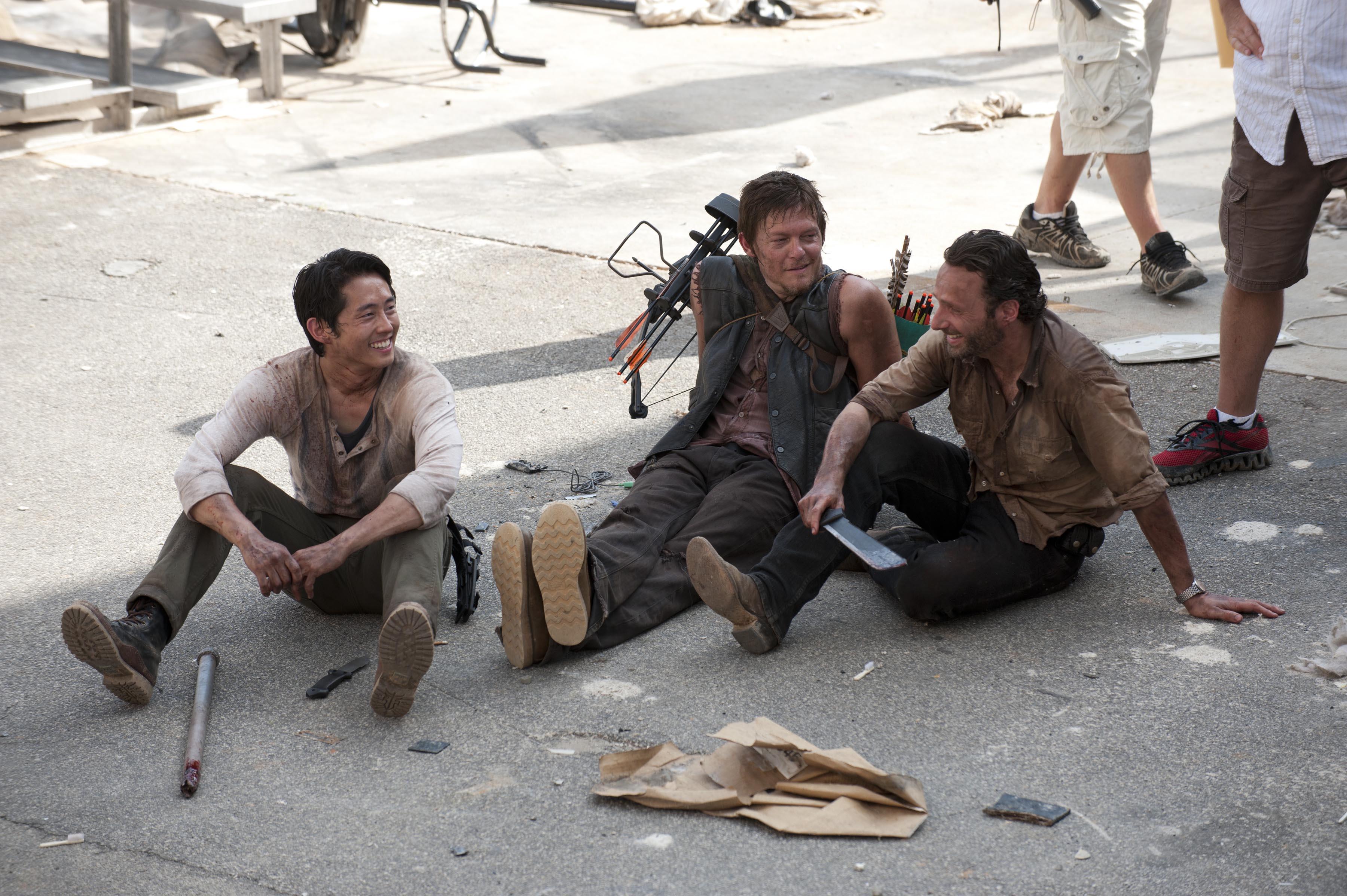 Balról jobbra:  Steven Yeun, Norman Reedus, Andrew Lincoln