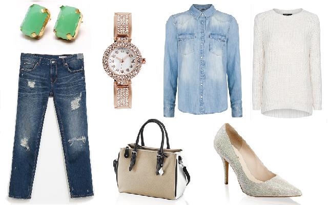Nadrág: Zara, farmering, pulóver: Mango, táska, cipő: Humanic, óra: Bijou Brigitte, fülbevaló: Látomás
