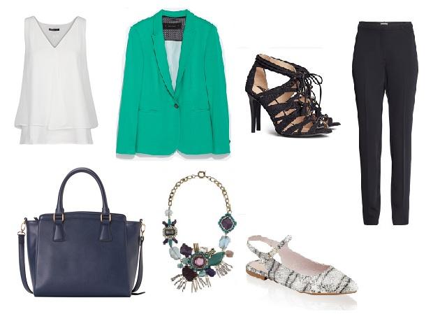Nadrág, fekete cipő: H&M, blézer: Zara, blúz: Mango, kígyómintás cipő: Humanic, táska: Carpisa, nyaklánc: Parfois