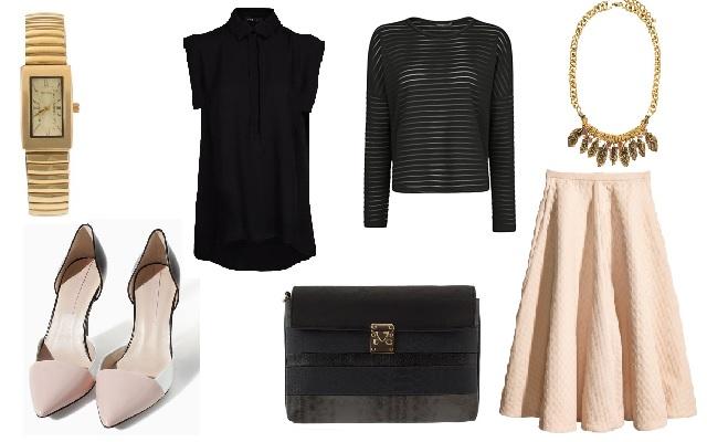 Szoknya: H&M, blúz, pulóver: Mango, táska, óra: Parfois, cipő: Zara