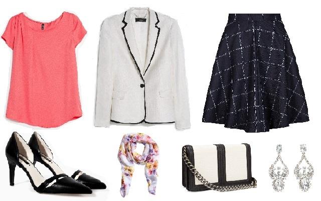 Szoknya: Marks & Spencer, blézer, blúz: Mango, cipő: Zara, táska, kendő, fülbevaló: H&M