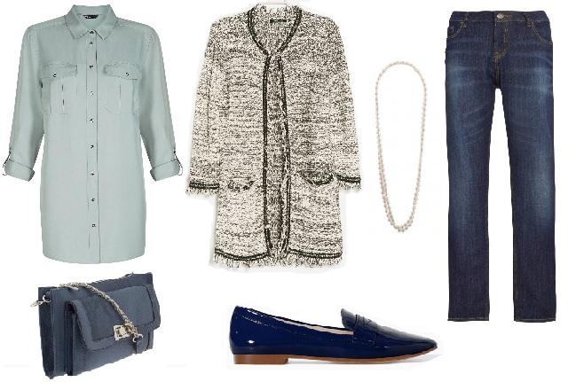 Blúz: Marks & Spencer, kardigán: Mango, farmernadrág: F&F, cipő: Zara, táska, gyöngysor: Parfois