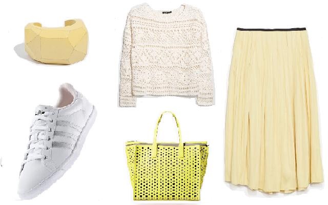 Szoknyával, cipő: Adidas, szoknya, táska, karkötő: Zara, pulóver: Mango