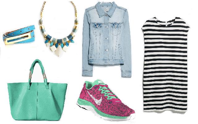 Ruha, farmerdzseki: Mango, cipő: Nike, táska: Zara, öv: Látomás, nyaklánc: Soie
