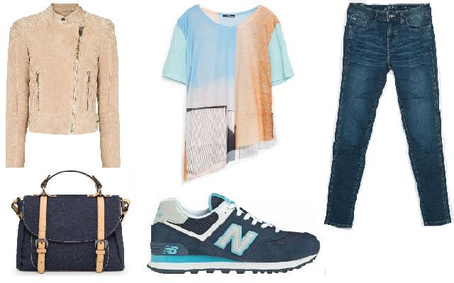 Cipő: New Balance, nadrág, póló: Zara, bőrkabát, farmertáska: Mango