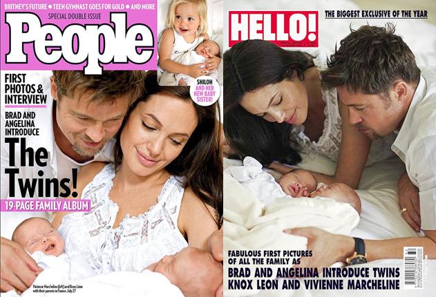 Brad és Angelina az ikrekkel