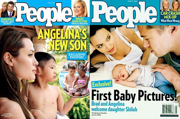 Angelina és Pax (bal oldalon), Angelina, Shiloh és Brad Pitt (jobb oldalon)