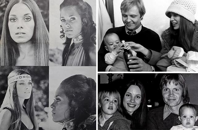 Angelina édesanyja, Marcheline Bertrand (bal oldalon), régi családi fotók (jobb oldalon)