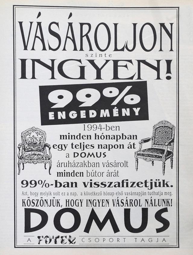 99% engedmény 1994-ől