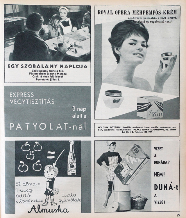 1965: Kacér hölgy méhpempős krémet kínál, miközben a barátnője tűsarkúban mos a Duna mosóporral.