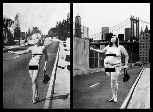 Madonnaként pózol meztelenül a duci nő