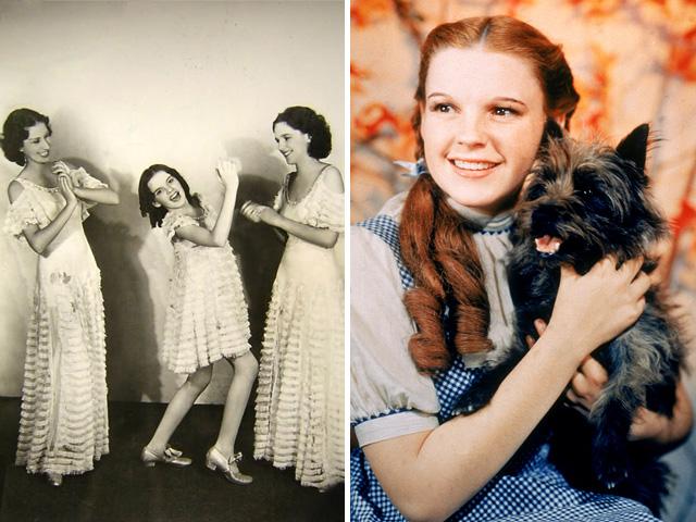 A 'The Gumm Sisters', középen Judy Garlanddal (balra), legismertebb szerepe Dorothy, az Óz, a csodák csodája című filmből (jobbra)