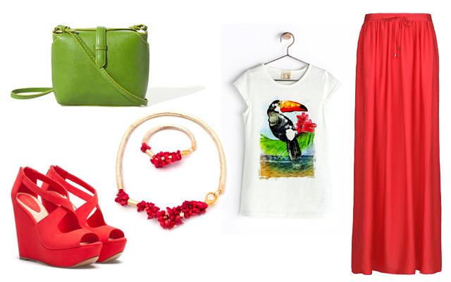 Felső, táska: Zara, szoknya: Mango, ékszerek: Timea Talian Designs, szandál: Bershka
