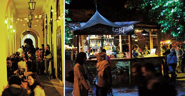 Szellős, esőtől védett és hangulatos árkádsor a Méter nevű pub előtt (balra), Kőleves kert (jobbra)