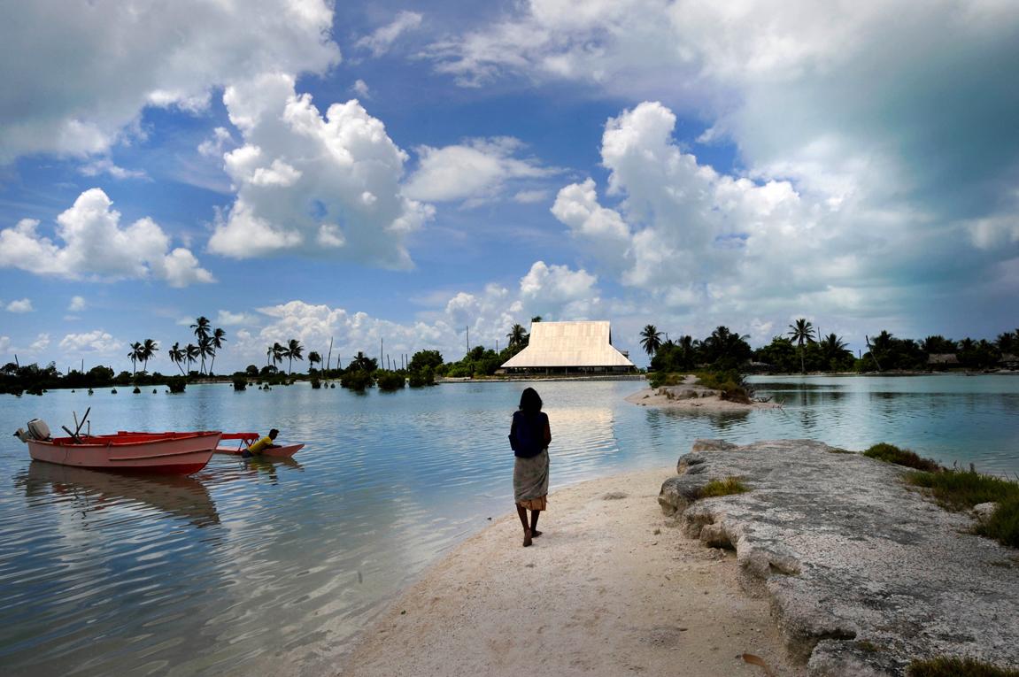 A képen jól látszik hogy a tenger mennyire elöntötte már a szigetet (Fotó: Justin Mcmanus/Getty Images)