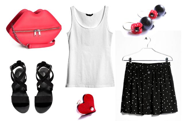 Trikó, táska, szandál: H&M, szoknya: Mango, ékszerek: Vadjutka