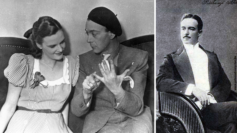 Tolnay Klári és Dénes György színművészek (balra), Ráthonyi Ákos fimrendező (jobbra)