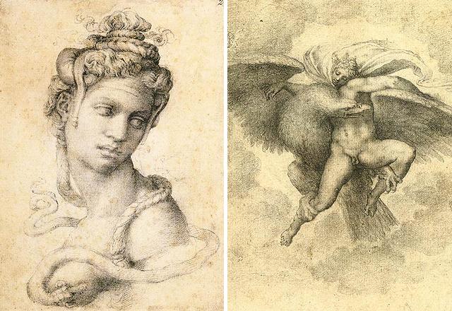 Tommaso de Cavalieri-ről készült rajzok Kleopátra (1533-1534) és Ganymedész (1532)