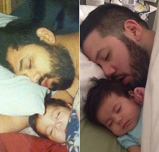Balra Raul és Nick, jobbra a már felnőtt Nick és kislánya, Ivy