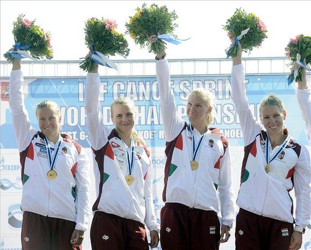 Kozák Danuta, Kárász Anna, Vad Ninetta, Szabó Gabriella (b-j) a dobogón - Fotó: