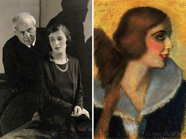Molnár Ferenc és az ő imádott párducasszonya (balra), Rippl-Rónai József portréja Darvas Liliről (jobbra)