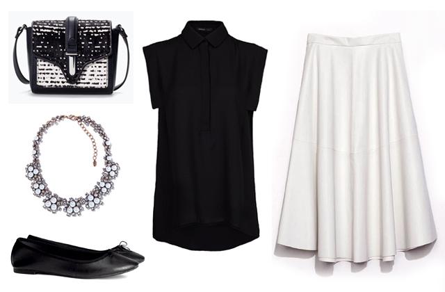 Szoknya, nyaklánc, táska: Zara, blúz: Mango, cipő: H&M