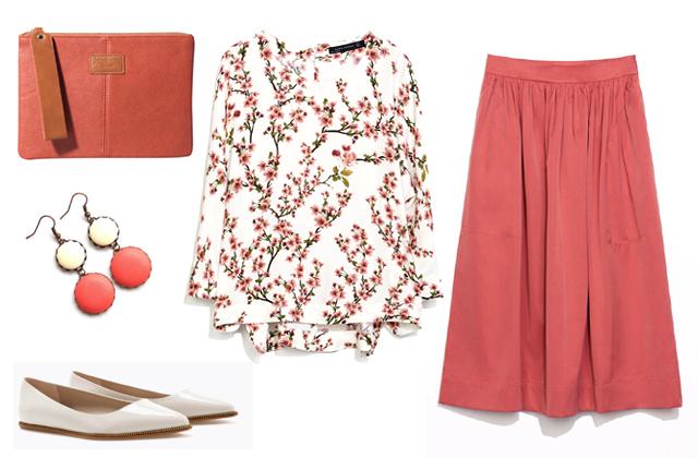 Szoknya, blúz, cipő: Zara, táska: Stradivarius, fülbevaló: Tündér Műhely