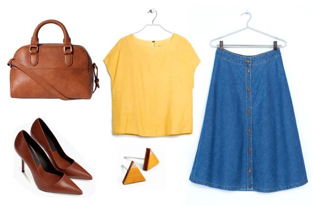 Szoknya: Bershka, felső: Mango, táska: Stradivarius, cipő: Zara, fülbevaló: Theia Design