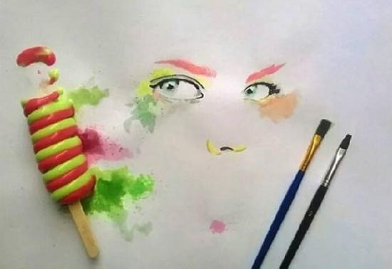 Jégkrémmel fest egy művész - képek