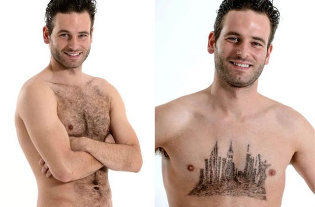 Így lesza  férfiak mellszőrzetéből műalkotás - fotók