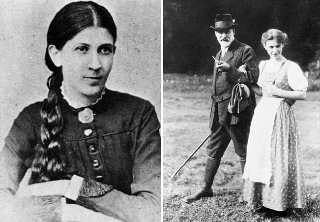 Minna Bernays (balra) és Freud, lányával Annával