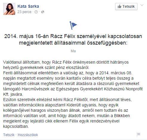 Sarka Kata nyilvános bocsánatot kért Rácz Félixtől