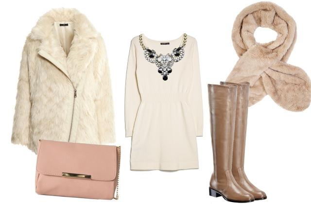 Kabát: H&M, ruha: Mango, táska: Bershka, stóla: FF, nyaklánc: Bijou Brigitte, cipő: Vigneron - Humanic