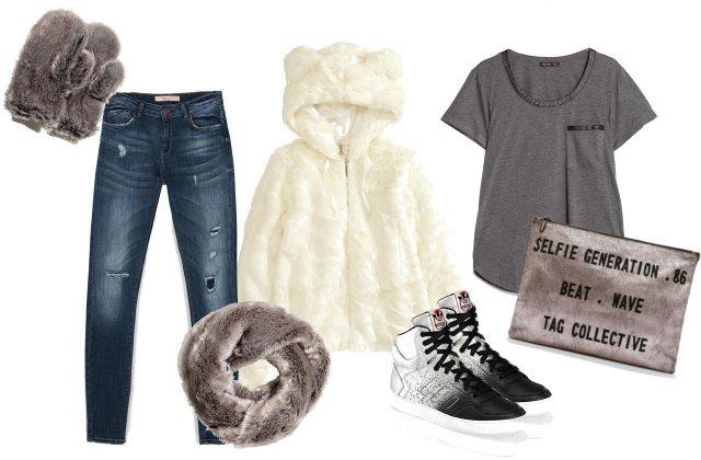Kabát, sál, kesztyű: H&M, póló: Mango, farmer: Bershka, nesszeszer: Zara, cipő: Adidas