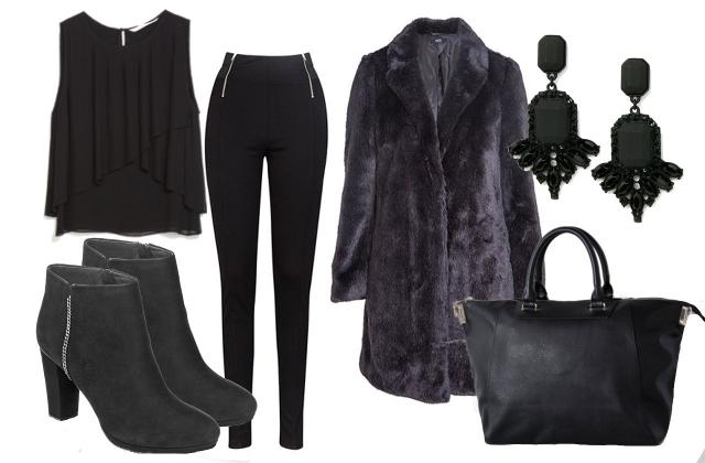 Kabát, nadrág: F&F póló: Zara, táska: Bershka, fülbevaló:  Geox