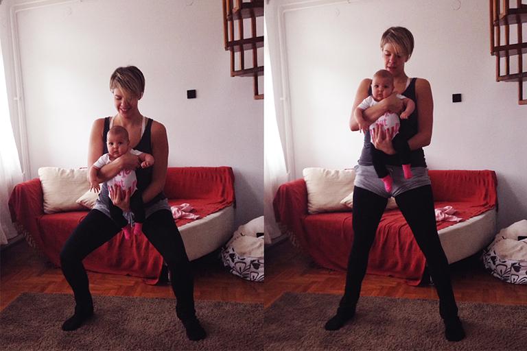 Puszilgatva tornázhatsz otthon a babáddal