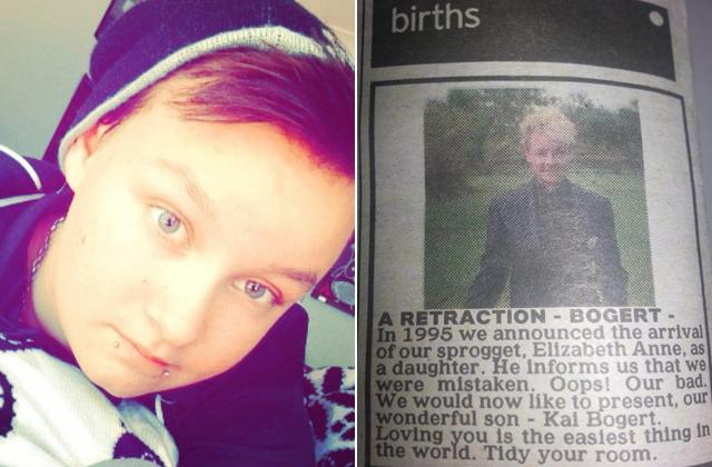 Újsághirdetésben jelentették be 19 éves fiuk születését