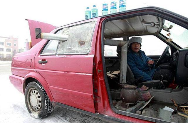 Ilyen, amikor kályha fűti az autót - fotó