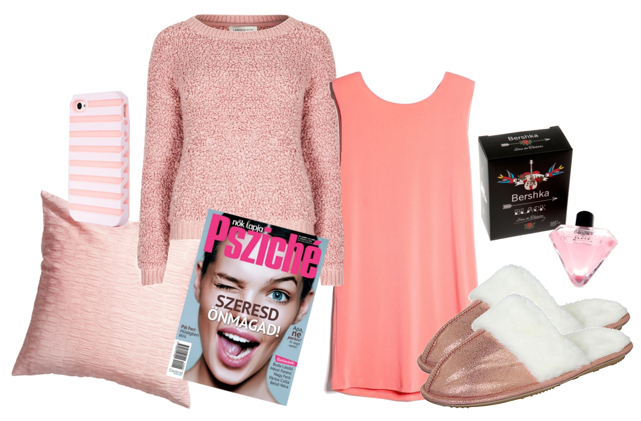 ruha: Mango, pulcsi: Marks&Spencer, párna: H&M, telefontok, parfüm: Bershka, cipő: F&F