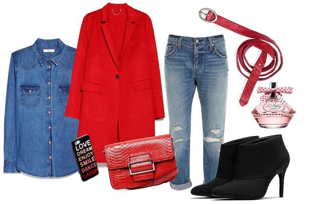 Kabát, ing, táska: Mango,  farmer, öv: Levi's, telefontok: Bershka, parfüm: Avon, cipő: Zara