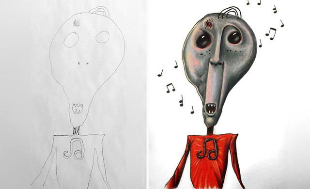 Gyerekei rajzait színezi ki az apa - galéria