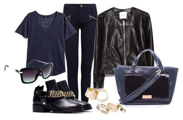 Dzseki, napszemüveg, gyűrűszett: Mango, póló: H&M,  nadrág: Tally Weijl, táska: Dorka Petrity, cipő: Zara