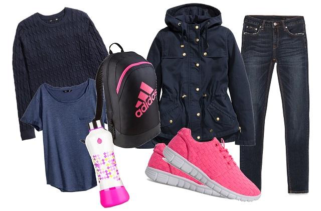 Kabát, pulcsi, póló: H&M, nadrág: Zara, hátizsák: Decathlon - Adidas, kulacs: EQUA, sportcipő: New Yorker