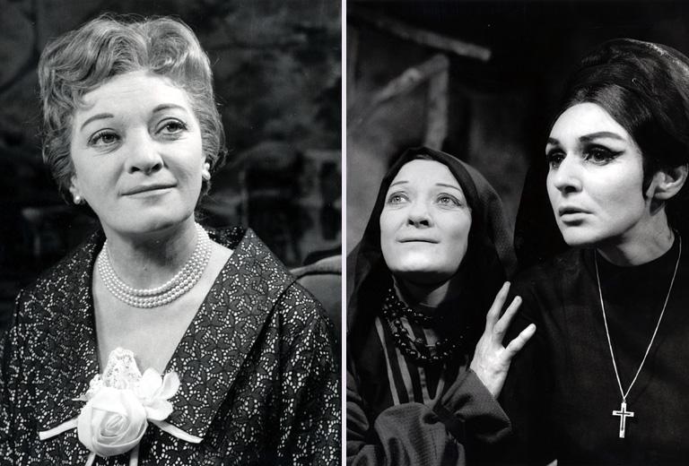 Kiss Manyi (balra), Psota Irénnel a színpadon, 1965-ben (jobbra)