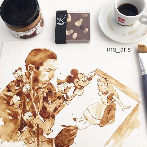Festék helyett kávéval fest - galéria
